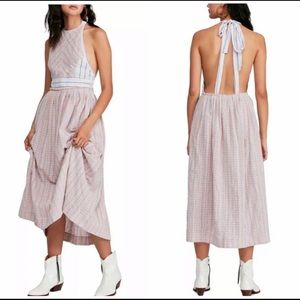Free People Open-Back Mixed Pattern Halter Dress